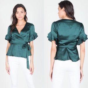 Silky green wrap shirt